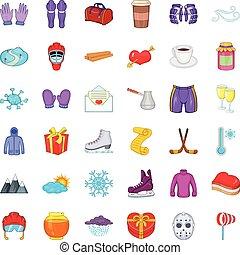 inverno, guanto, icone, set, cartone animato, stile