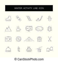 inverno, icone, set., attività, pack., linea