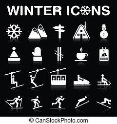 inverno, icone, set