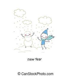 inverno, ilustração, homem