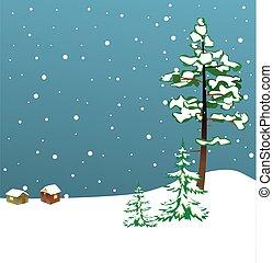 inverno, -, ilustração, vetorial, abetos, cartão