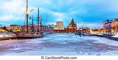 inverno, in, helsinki, finlandia