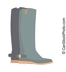 inverno, isolato, stivali, grigio, gomma, white., scarpe