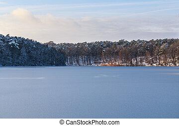 inverno, lago, paisagem