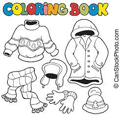 inverno, libro colorante, vestiti