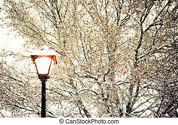 inverno, luce stradale