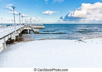 inverno, mar báltico, scenery., cais, em, gdansk, brzezno, polônia