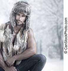 inverno, maschio, moda