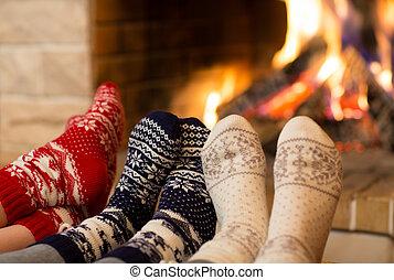 inverno, meias, pés, tempo, lã, lareira