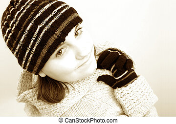 inverno, menina adolescente