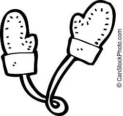 inverno, mittens, caricatura
