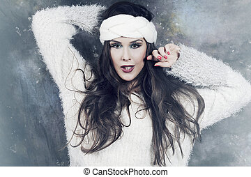 inverno, moda, retrato