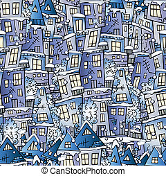 inverno, modello, racconto, case, fata, cartone animato