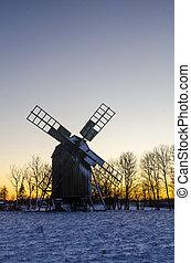inverno, moinho de vento, madeira, pôr do sol, tempo