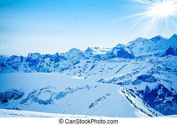 inverno, montagne.