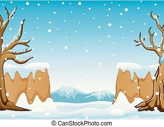 inverno, montanha, colinas, paisagem, neve