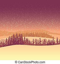 inverno, morning., floresta
