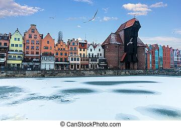 inverno, motlawa, e, zuraw, porto, guindaste, gdansk,...