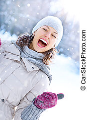 inverno, mulher, outdoor., feliz, rir, menina, tendo divertimento