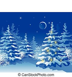 inverno, natal, floresta, à noite