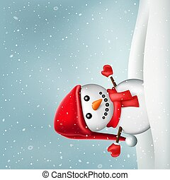 inverno, natale, pupazzo di neve, snowdrift