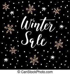 inverno, negócio, snowflakes., doodle, concept., venda, texto, fundo, manuscrito, vector.