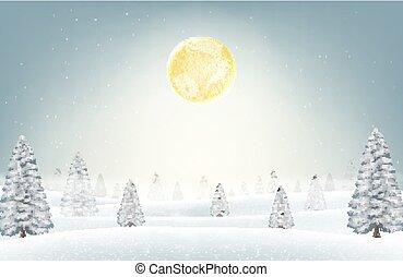 inverno, neve, lua, floresta, fundo, natal