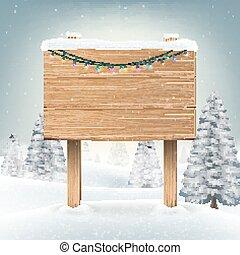 inverno, neve, sinal, madeira, tábua, natal