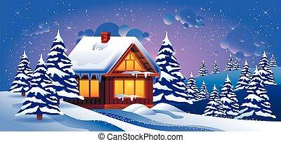 inverno, neve, trações, vetorial, ilustração, paisagem