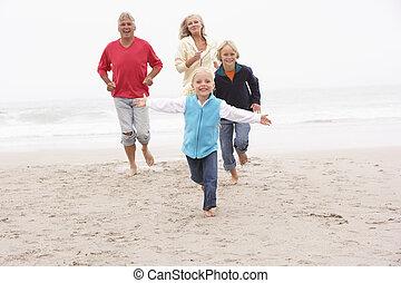 inverno, nipoti, nonni, insieme, correndo, spiaggia