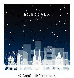 inverno, notte, bordeaux.