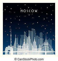 inverno, notte, moscow.