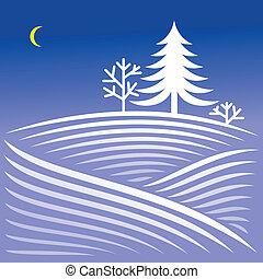 inverno, notte, paesaggio, con, abete rosso