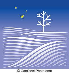 inverno, notte, paesaggio, con, albero