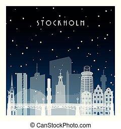 inverno, notte, stockholm.