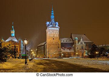 inverno, noturna, cityscape