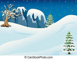inverno, noturna, paisagem