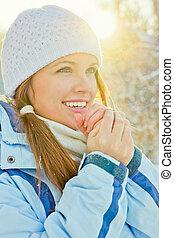 inverno, pôr do sol, retrato