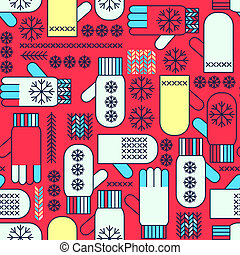 inverno, padrão, mittens, seamless, snowflake