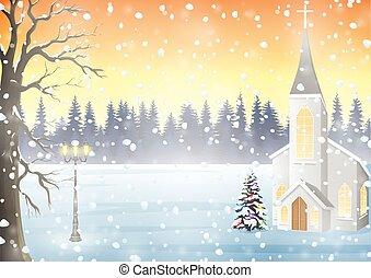 inverno, paesaggio, chiesa