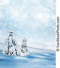 inverno, paesaggio., fondo