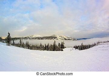inverno, paisagem montanha