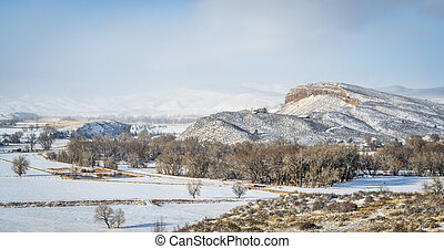 inverno, panorama, di, rurale, colorado