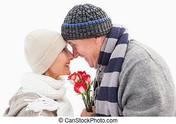 inverno, par, rosas, maduras, feliz, roupas