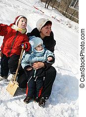 inverno, passeio, de, um, família