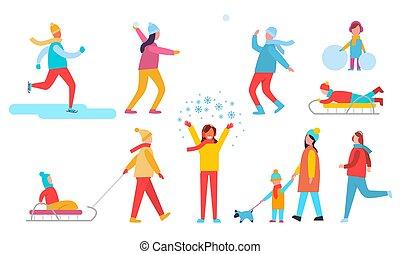 inverno, pessoas, jogo, ações, vetorial, ilustração