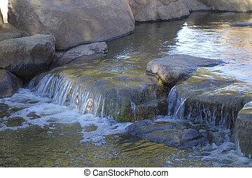 inverno, phoenix, cachoeira, lago, parque, cortez, az