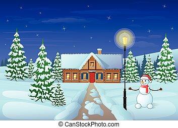 inverno, presente, casa, véspera, neve, feriado, cartão ...