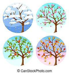 inverno, primavera, autumn., albero, illustrazione, quattro, paesaggio, seasons., estate