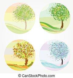 Inverno, primavera, Outono,  -, Quatro, estações, verão